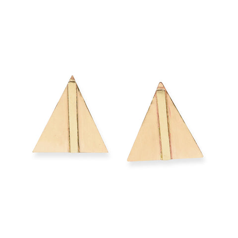 SMALL BRASS BAR IN TRIANGLE POST EARRINGS 1""