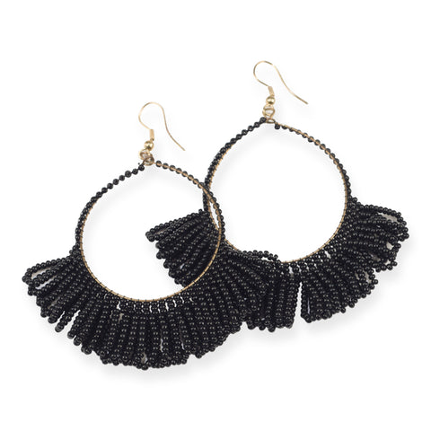 BLACK FRINGE HOOP SEED BEAD EARRINGS 3.5""