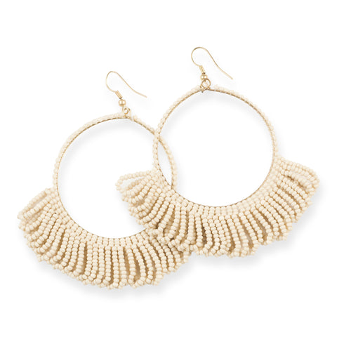 IVORY FRINGE HOOP SEED BEAD EARRINGS 3.5""