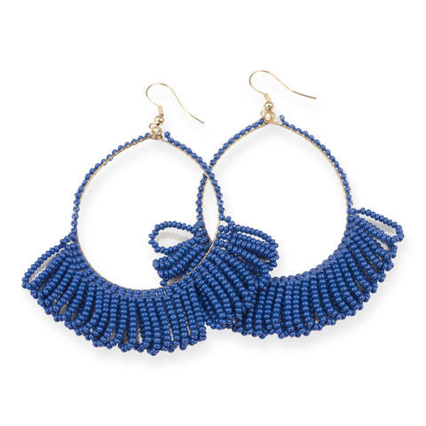 LAPIS FRINGE HOOP SEED BEAD EARRINGS 3.5""