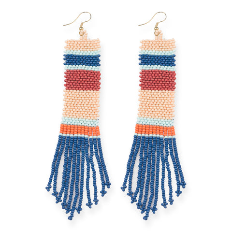 BLUE, PINK, TERRA COTTA PATTERN STRIPE BEAD EARRINGS