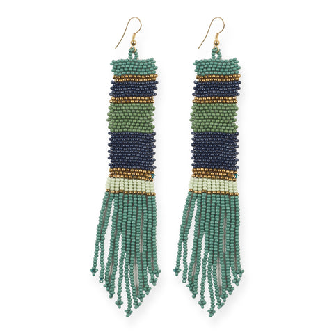 GOLD, MINT, TEAL, NAVY LONG STRIPE SEED BEAD EARRINGS 5""