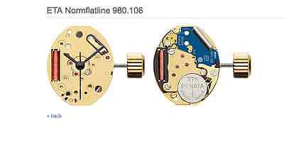 ETA 980.106 WATCH MOVEMENT - 980.106 COMES TESTED WITH NEW BATTERY