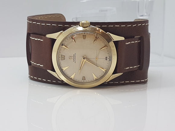 Vintage Omega Bumper Cal 344 Made in 1952 Serviced Gold Tone with Bund Strap