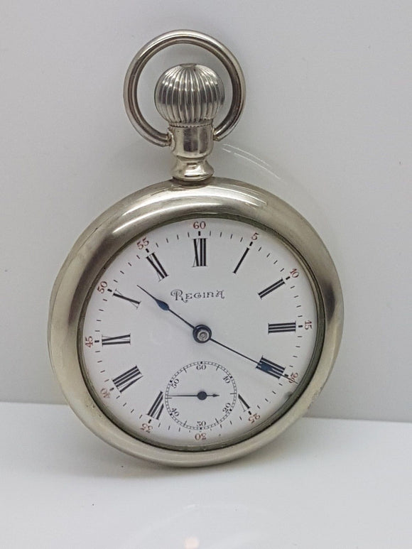 Vintage Regina Pocket Watch 18.5 Ligne 15 Jewels A.W.C. Silveroid Swing Out Case