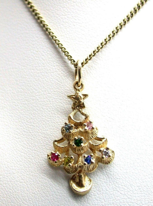 Vintage Christmas Tree or Family Tree 10kt Yellow Gold Pendant Dangle Pendant