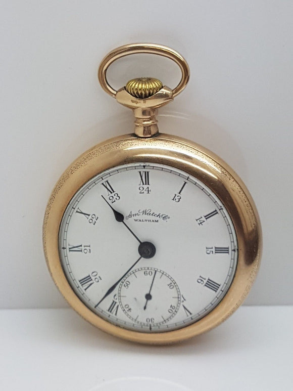 18 Size Waltham Pocket Watch 17 Jewel Model 1883 Double Roller Two Tone Mov. 3E
