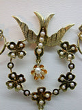 Vintage 14K Dove Motif Pendant set with 41 Seed Pearls & 10kt Yellow Gold Chain
