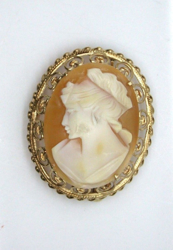 Vintage Ladies 14K Yellow Gold Cameo Pendant Brooch (29.76mm x 22.87mm)