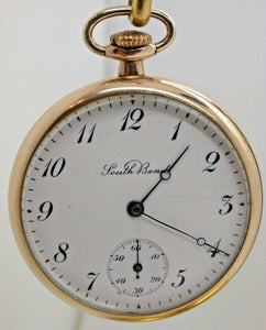 VINTAGE SOUTH BEND 429 SIZE 12 POCKET WATCH 19 JEWELS GOLD FILLED CASE 4C