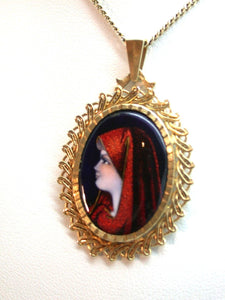 Vintage 10K Enamel Madonna on Copper Signed Flamor 10k Yellow Gold Pendant