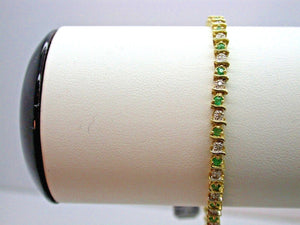 Vintage Ladies 14K Yellow Gold Emerald and Diamond Bracelet Jewellery