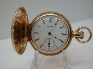 Elgin 6 Size Pocket Watch in 14kt Gold Hunting Case 24 HR Dial Made in 1889 Grade 94 - F6