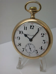 Hamilton 16 Size 17 Jewel Grade 974 Pocket Watch mfg 1907 Fortune Gold Case - F8