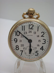 Waltham 16 Size 21 Jewel Pocket Watch Mfg 1915 Grade 645 24 Hr Dial Fahy's 10K  - F9