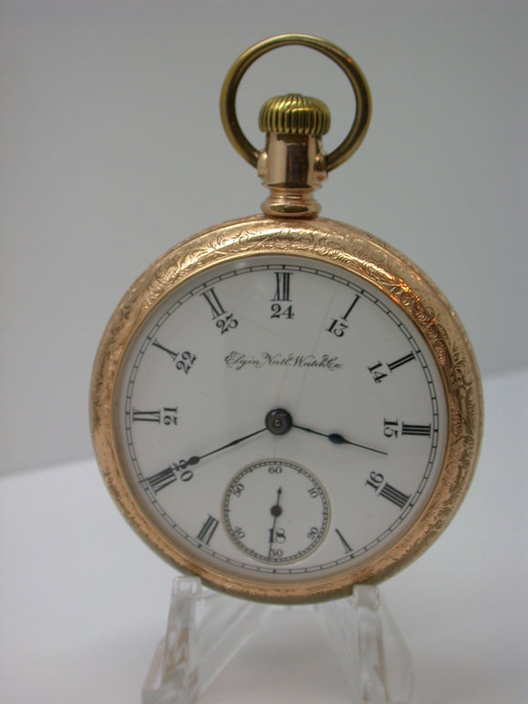 Elgin 18 Size Open Face Pocket Watch Made in 1889 Grade 74 24 Hour Dial -  F10