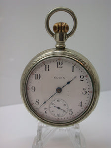 Elgin 18 Size Open Face Pocket Watch Mfg 1908 17 Jewels Model 5 Class 106 - F11