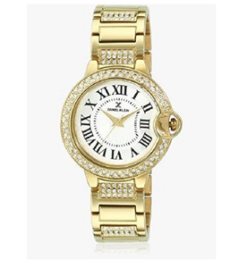 Daniel Klein Ladies Gold Plated CZ Bezel & Strap DK10908-1 New Warranty Fancy