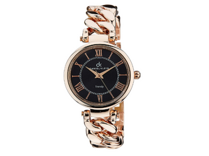 Daniel Klein Ladies Pink Gold Copper Like Plated Watch DK10523-4 New Black Dial