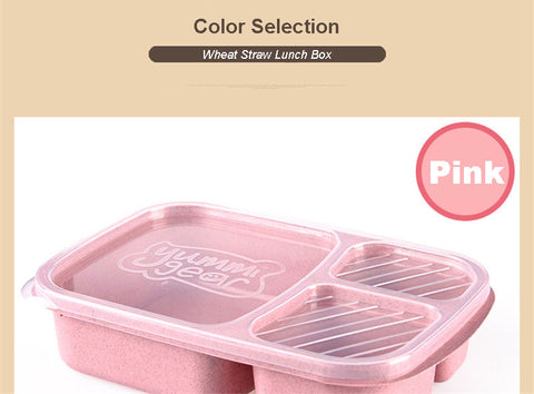 Pink Packed Lunch Bento Box 3 Compartments