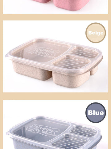 3 Section Compartment Packed Lunch Bento Box, Colours Available Pink, Beige, Blue