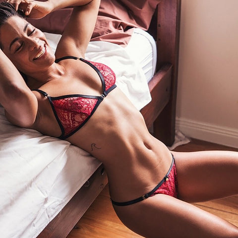 Black & Burgundy Soft Lace Lingerie Set