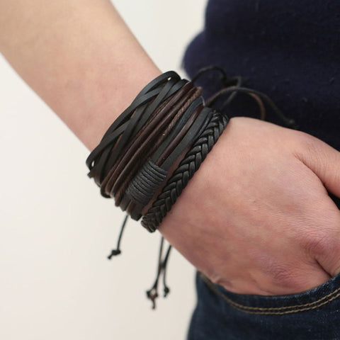 Mens Brown & Black Layered Leather Bracelet/Wristband