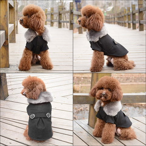 Woollen Dog Coat Available in Black and Grey