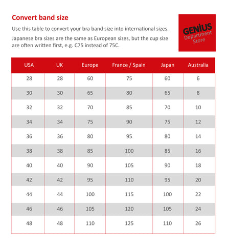 Bra Conversion Size Guide Bra Sizes Shown Are UK