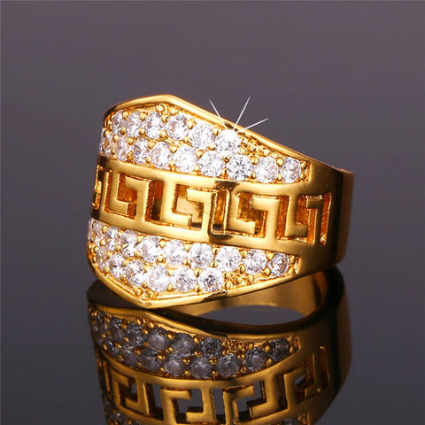 Mens Gold Colour Chunky Bling Ring With Cubic Zirconias
