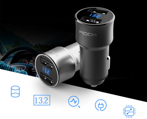 Smartphone Car Charger , Universal Dual USB, Blue LED Digital Display