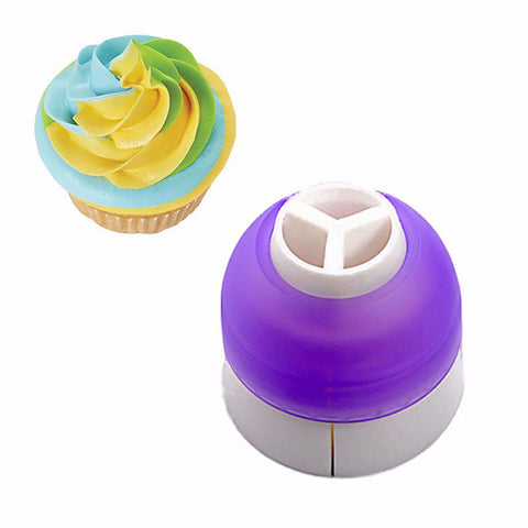Tri colour nozzle 3 colours icing for cupcakes cake decorating