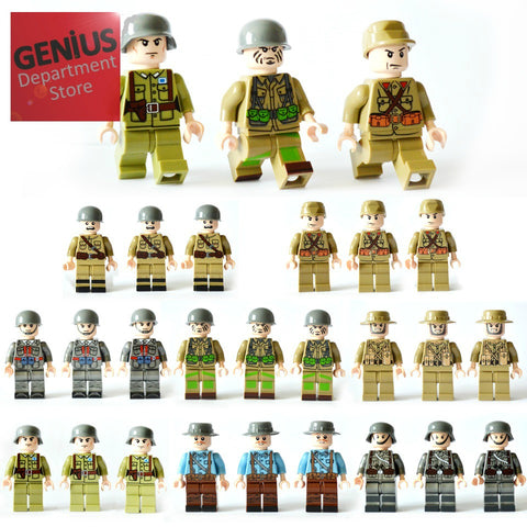 WW2 Soldier Brick Toy 24 Pc Set compatible with other brands