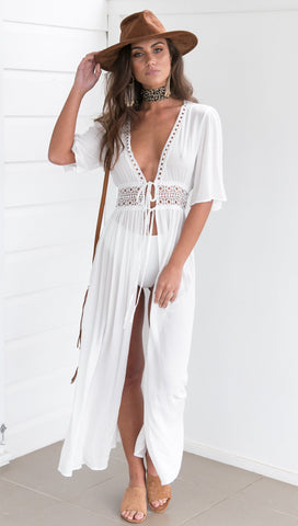 White Tie Front, Deep V Plunge Lace Knitted Bikini Cover Up Beachwear