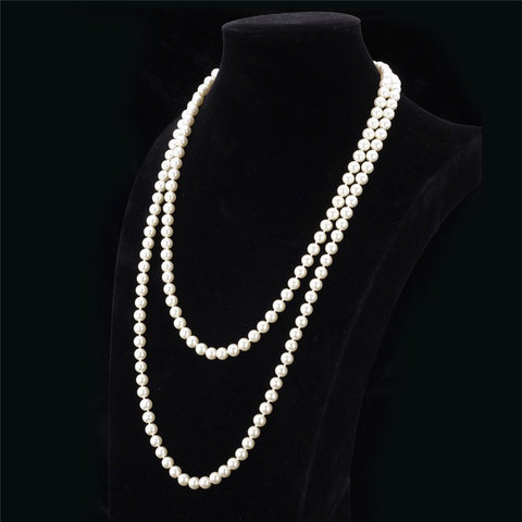 Elegant, Synthetic Pearl, Multi Layer, Maxi Necklace.