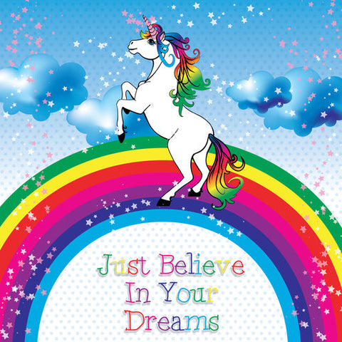 Believe In Your Dreams - Unicorn Jumping A Rainbow