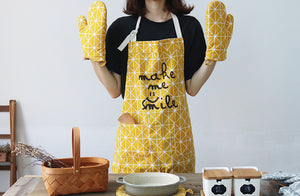"Geometric Print Oven Gloves, Cooking Apron ""Make Me Smile"" Slogan & Bakeware Placemat/Table Mat. 4 Pc Set (2 Oven Mitts+1 Apron+1 Mat)"