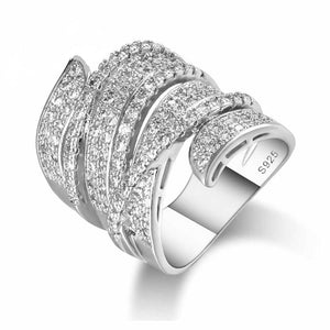 Sterling Silver Statement Ring Set With Austrian Clear Cubic Zirconia.