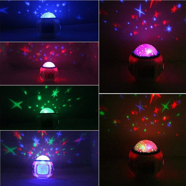 Kids LED Stars Projector Digital Alarm Clock, Projector, Calendar & Thermometer