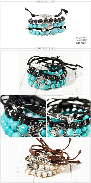 "Boho Bracelet. Beautiful 5 Piece Layered Bracelet. Manufactured In Leather With Stone & Bead Detail, ""With Love"". Available in two colours, Blue & White Stone, Black Leather or Beige/Brown Leather & White."