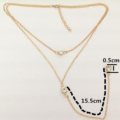 Measurements Multi-layered, gold colour necklace with pendants