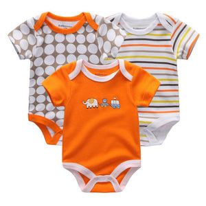 Baby Romper Boys 3 Pack Short Sleeve. 100% Cotton.