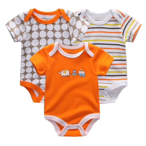 Baby Boys Short Sleeved Bodysuit. 3 Pack Various Print Design, 1 x Geometric, 1 x Striped, 1x Cartoon Character 100% Cotton.
