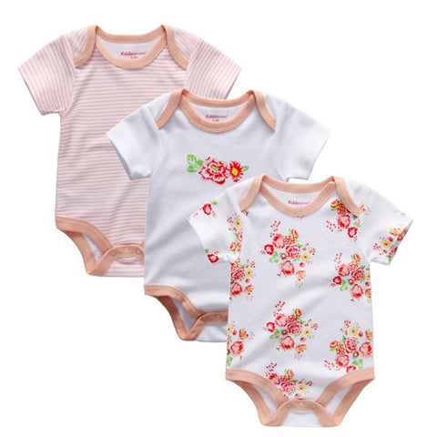Baby Girl Short Sleeve Romper. 3 Multi-Pack. Various Styles Inc. Pink/White Stripe, White Flower. 100% Cotton.