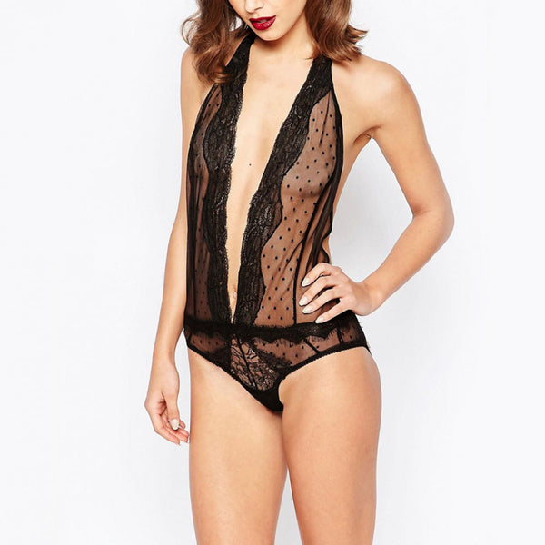 Black Lace Halter Neck, Semi-Sheer Trim Backless & Wireless Breathable Deep V Bodysuit