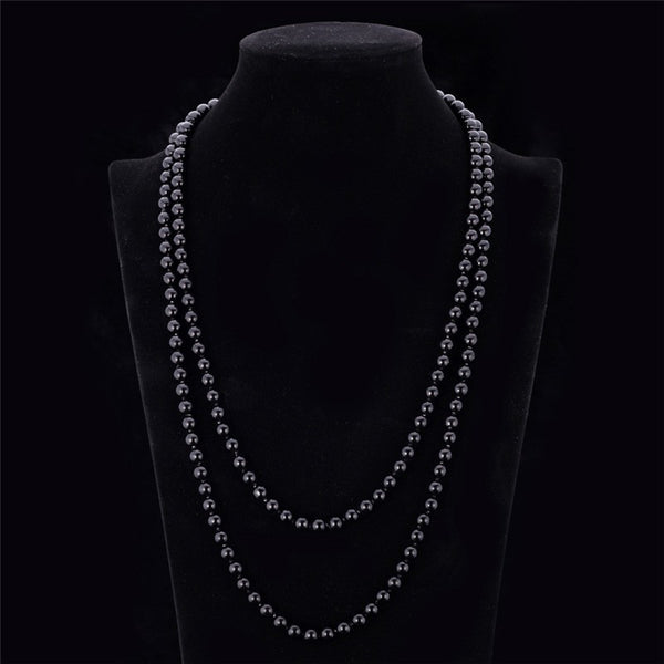 Elegant & Striking, Synthetic Pearl, Multi-Layered, Long, Maxi Necklace. Available in White, Black, Multicolour and Purple