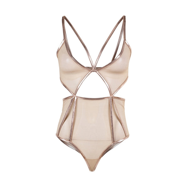 3/4 Cup Bodysuit Playsuit. Women Beige With Gold Colour Trim. Back Closure, Push Up, Wire Free, Sheer Side Cut Out