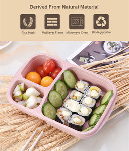 3 Section Lunch Box Manufactured From Wheat Straw Bento Box Healthy Natural Alternative to Plastic. 3 Section Portable Lunch Box
