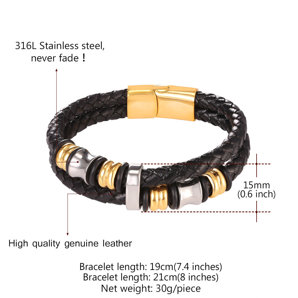 leather polished masculine braided brown button click bracelet product clasp push