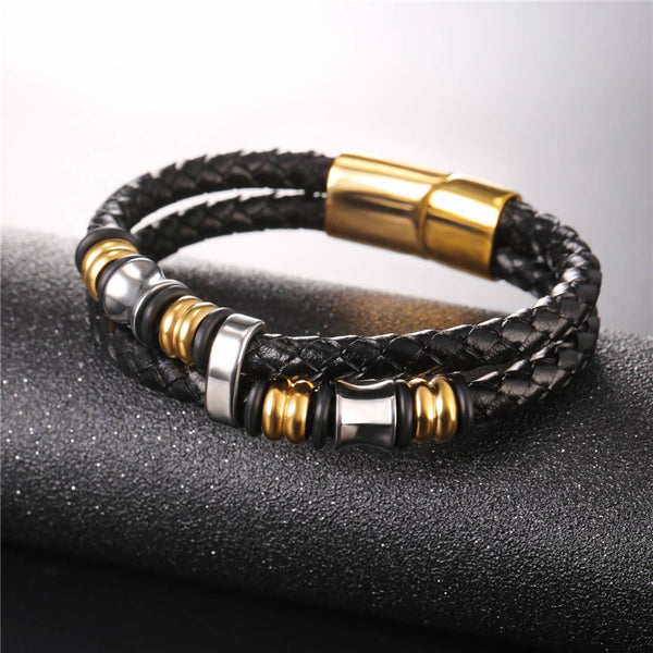 Masculine & Elegant, Mens High Quality Genuine Leather Bracelet. Stainless Steel Circles & Multilayers.